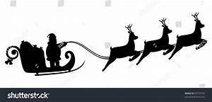 Silhouette Santa Claus Fly In A Sleigh. Design For Your ...