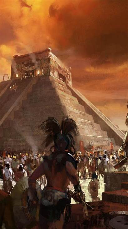 Aztec Sacrifice Maya Pyramids Artwork Mobile Iphone