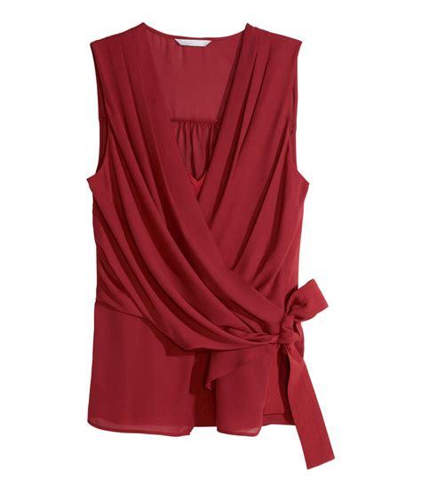 h m blouses h m sleeveless chiffon blouse in lyst