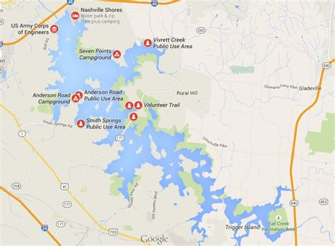 Percy Priest Lake Boat Rentals by Map Percy Priest Lake