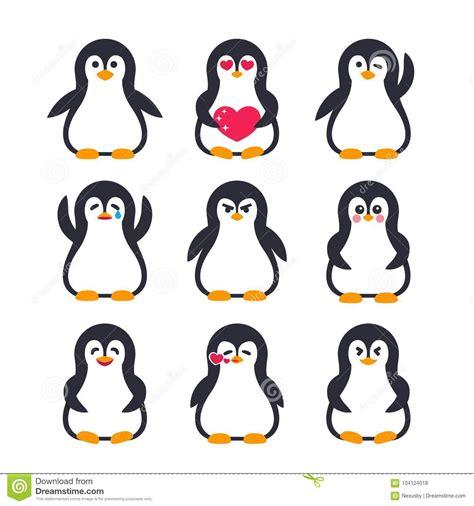 Kiren Pinguin Set emojis set penguin character stock vector illustration