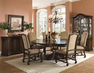 Dining table designs decoseecom for Round dining room table decor