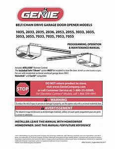Genie Garage Door Opener Manual 3042