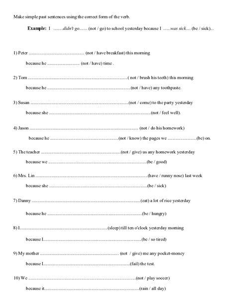 past simple worksheet simple past teachers board