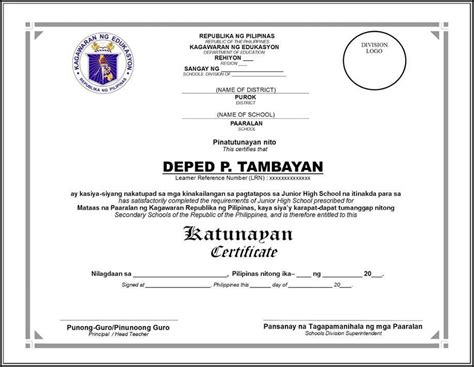 certificate  recognition template deped template