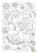 Santa Coloring Claus Giving Pages Present Christmas Printable Dot Drawing Snowman Paper sketch template