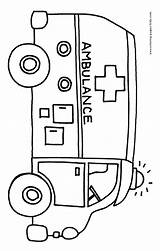 Coloring Pages Ambulance Printable Bus Transportation Preschool Sheets Community Helpers Emergency Activities Services Vehicles Colouring Theme Drawing Found Fire Doctor sketch template