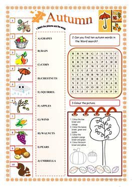 esl autumn worksheets