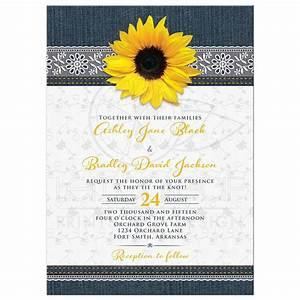 Denim and Lace Sunflower Wedding Invitation