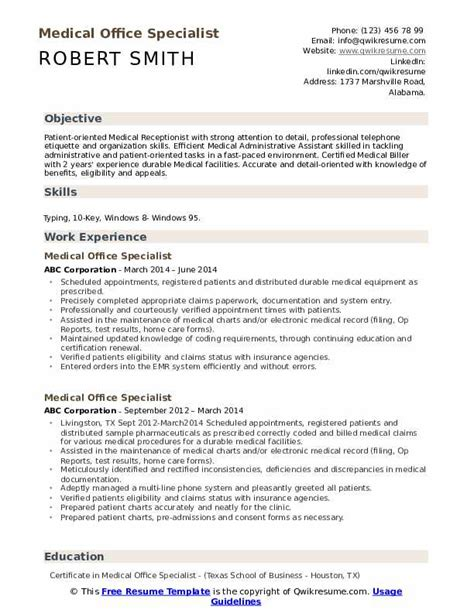 medical office specialist resume samples qwikresume