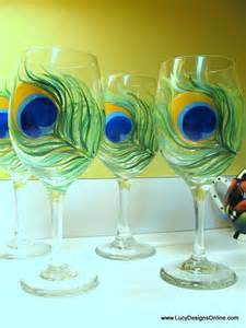 Peacock Feather Painted Wine Glass