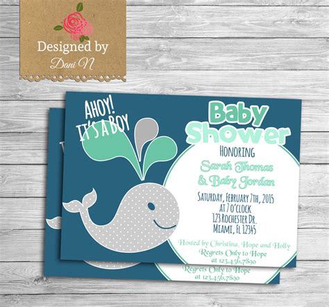 new to designedbydanin etsy baby shower party invitation navy and mint the sea baby