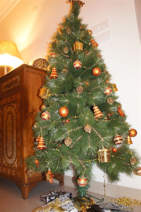 orange theme christmas tree decorations ideas