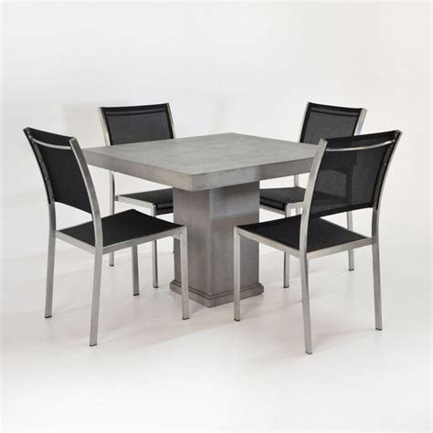 design warehouse concrete pedestal table set with 4 chairs