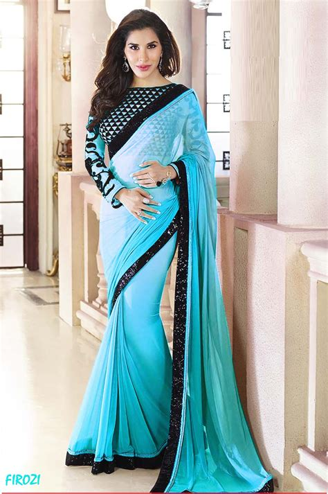 plain saree with designer blouse buy firozi plain georgette designer saree with blouse