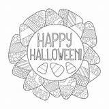 Halloween Candy Pagina Coloring Corn Het Cereale Frame Coloritura Suikergoedgraan Graan Suikergoed Kleurende Greeting Happy Card Snoepjes Dolci Colorano Ornamento sketch template