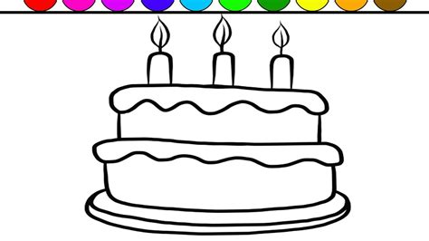 Learn Colors And Color Giant Birthday Cake Coloring Page