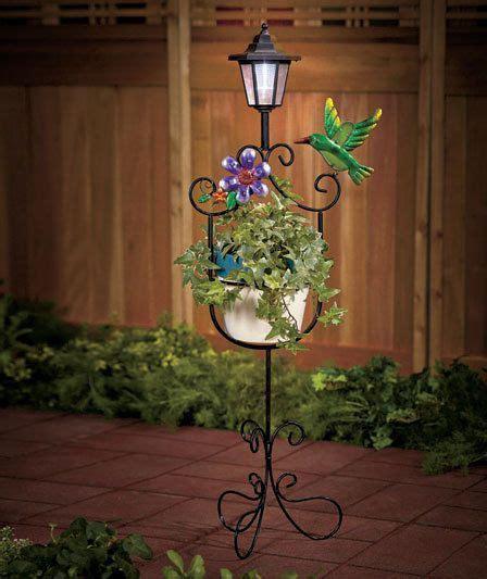 hummingbird solar light plant stand lawn yard garden