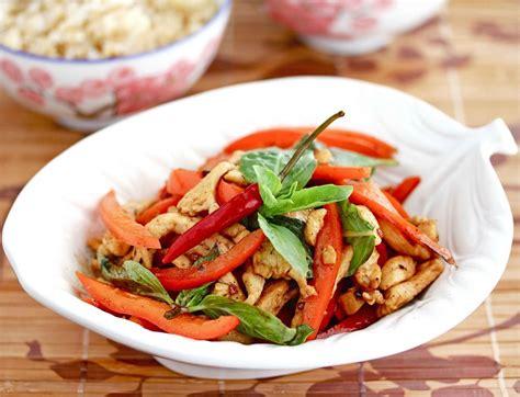 thai chicken thai chicken with basil stir fry recipe dishmaps