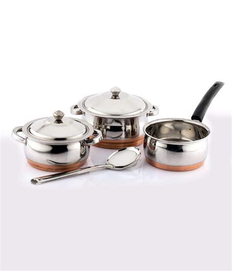 mahavir silver stainless steel  pcs copper bottom cookware set buy    price