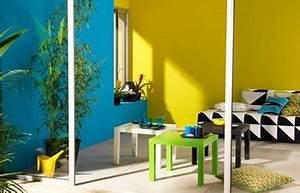belle decoration salle de bain jaune et bleu With salle de bain jaune et bleu