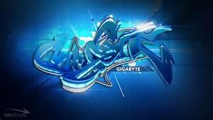 Gigabyte overclocking wallpaper 3d graffiti