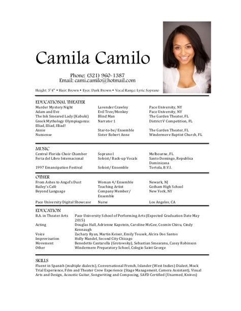 21424 musical theatre resume exles 2 acting resume bailey 28 images actors resume exle 85