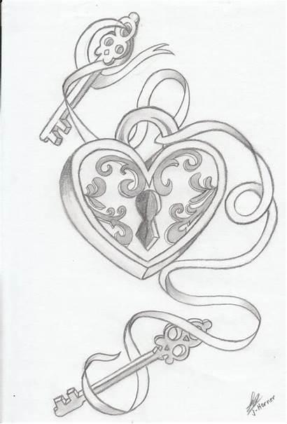 Lock Drawing Heart Key Drawings Tattoo Locks
