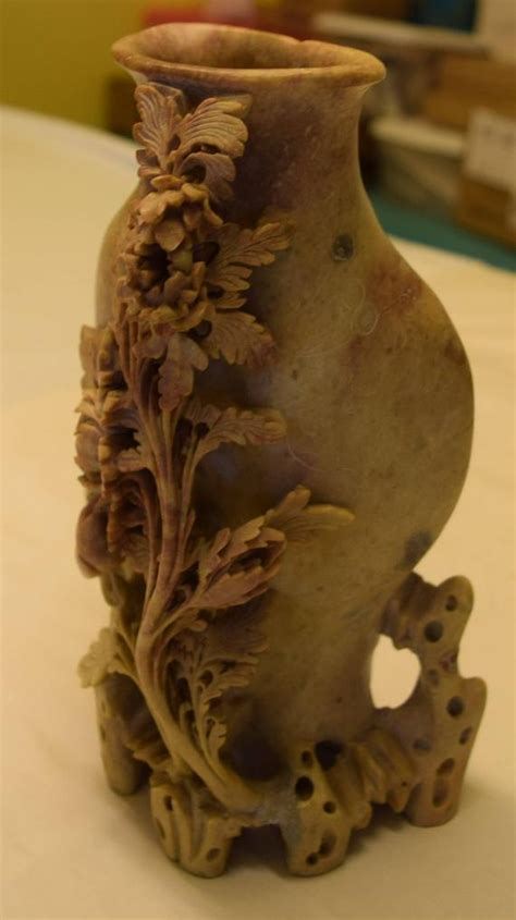 Soapstone Value by Antique Soapstone Carved Vase With Flowers And