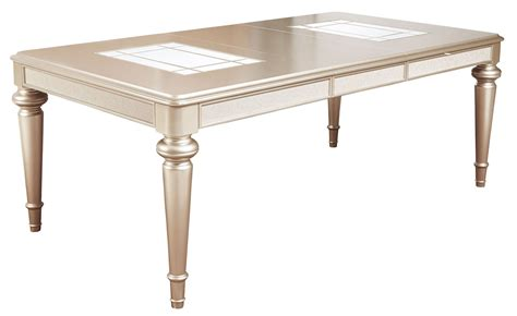 extendable rectangular dining table dynasty gold metallic extendable rectangular leg dining