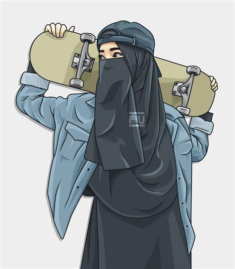 vector hijab niqab skateboard atahmadfu kartun animasi seni karakter