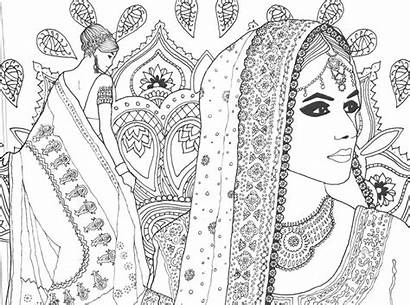 Coloring Pages Adult Books Saree Adults Abstract