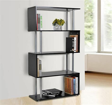 S Shaped Bookcase by Wooden Wood Storage Display Unit Bookshelf Bookcase Room