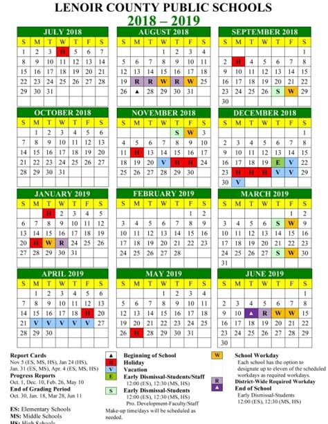 lenoir county public schools calendar printable calendar