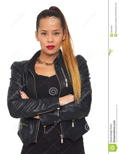 Beautiful Woman With Arms Crossed Leather Jacket