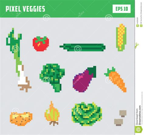 pixel vegetable game icon set stock vector illustration