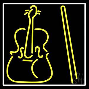 Yellow Violin Logo Neon Sign Music Neon Signs