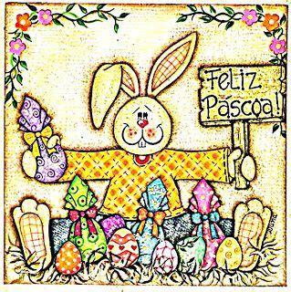 pascoa  coelhos coloridos  cartazes murais
