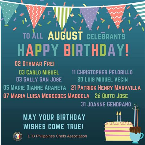 Happy birthday to all August celebrants! | LTB Chefs Phils
