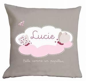 coussin bebe fille taupe blanc et rose avec nuage et With déco chambre bébé pas cher avec coussin Í fleurs
