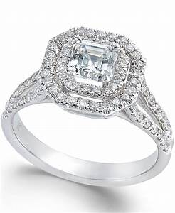 macy39s diamond halo engagement ring in 18k white gold 1 With macy s jewelry wedding rings