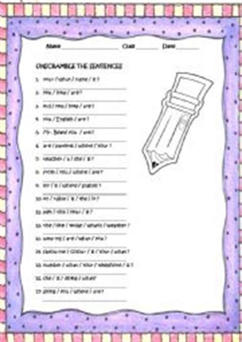 English Worksheets Reorder The Sentences