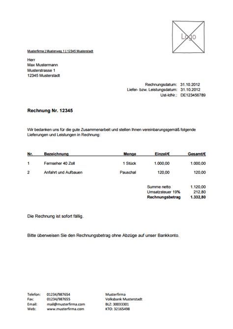 Kaufvertrag Ohne Unterschrift by Rechnungsvorlage Musterrechnung Kostenlos Lexoffice