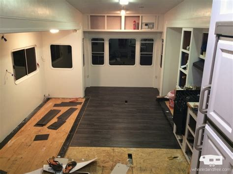 painting kitchen cabinets before after our fifth wheel mid renovation tour wheeled and free