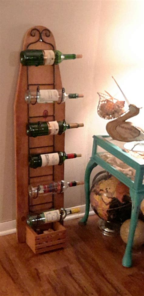 ironing board wine rack towel holder repurposed wooden ironing board ironing board