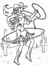 Cowgirl Coloring Pages Colouring Lasso Printable Barbie Cliparts Clipart Olds Popular sketch template
