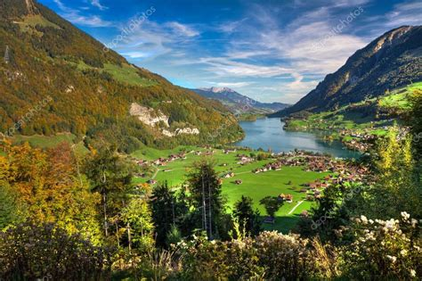 Lake Lungern Valley From Brunig Pass In Beautiful Autumn