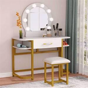 Tribesigns, Vanity, Table, Set, With, Lighted, Mirror, U0026, Cushion, Stool, Makeup, Table, Vanity, Dressing