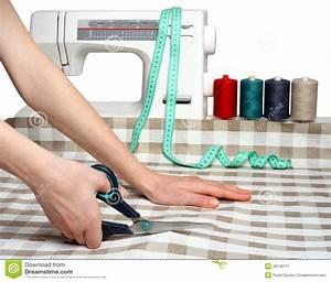 Concept, Of, Sewing, Cutting, Fabric, Closeup, Dressma, Stock, Image