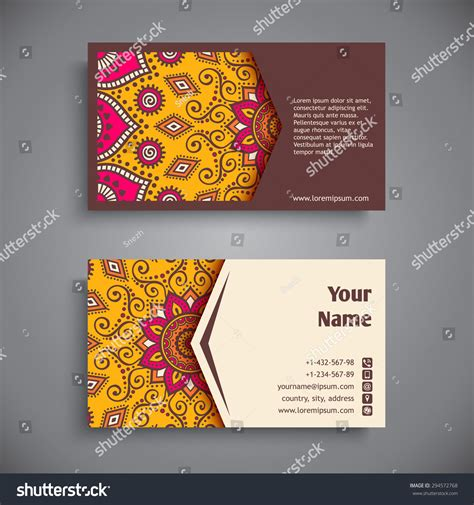 business card vintage decorative elements ornamental stock